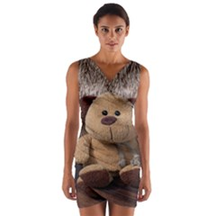 Stuffed Animal Fabric Dog Brown Wrap Front Bodycon Dress by AnjaniArt