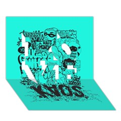 Typography Illustration Chaos Love 3d Greeting Card (7x5) by AnjaniArt