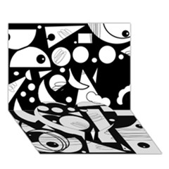 Happy Day   Black And White Heart Bottom 3d Greeting Card (7x5) by Valentinaart