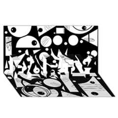 Happy Day   Black And White Party 3d Greeting Card (8x4) by Valentinaart