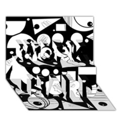 Happy Day   Black And White Work Hard 3d Greeting Card (7x5) by Valentinaart