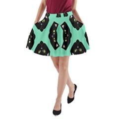 Black Cat Face Pattern A Line Pocket Skirt
