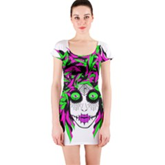 Spidie Lady sugar skull Short Sleeve Bodycon Dress by burpdesignsA