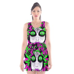Spidie Lady sugar skull Scoop Neck Skater Dress by burpdesignsA