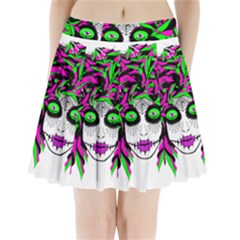 Spidie Lady sugar skull Pleated Mini Skirt by burpdesignsA