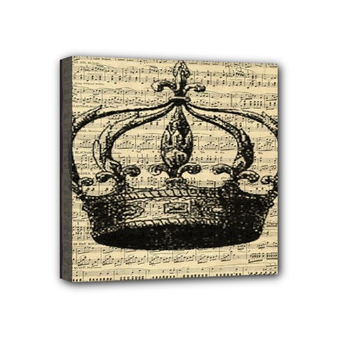 Vintage Music Sheet Crown Song Mini Canvas 4  X 4  by AnjaniArt