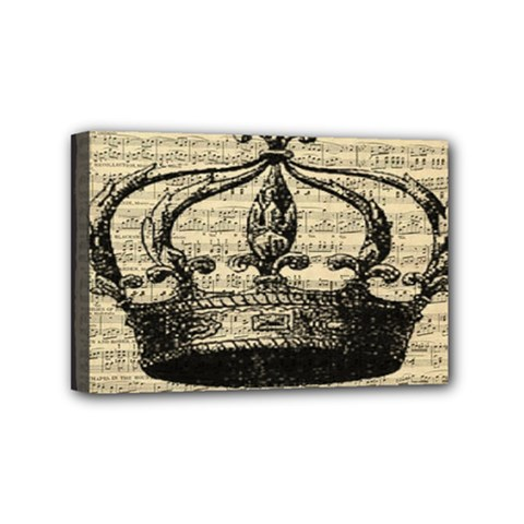 Vintage Music Sheet Crown Song Mini Canvas 6  X 4  by AnjaniArt
