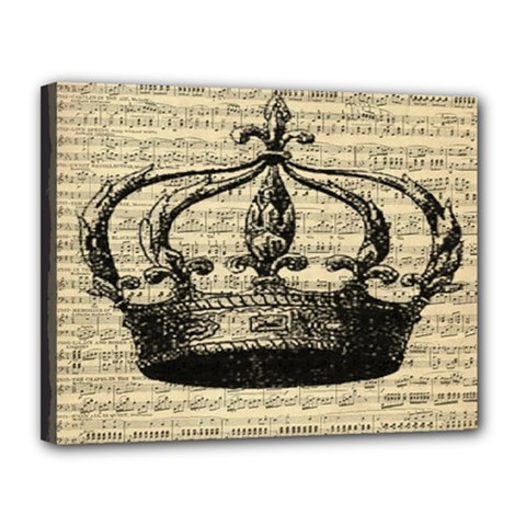 Vintage Music Sheet Crown Song Canvas 14  X 11  by AnjaniArt