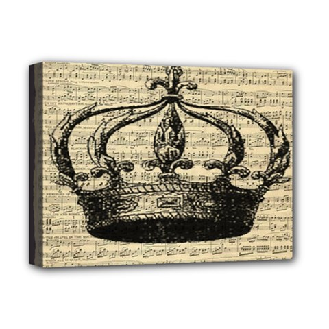 Vintage Music Sheet Crown Song Deluxe Canvas 16  X 12   by AnjaniArt