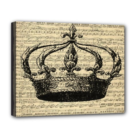 Vintage Music Sheet Crown Song Deluxe Canvas 20  X 16   by AnjaniArt
