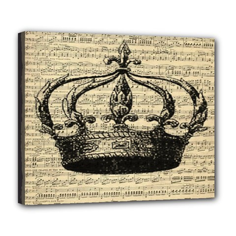Vintage Music Sheet Crown Song Deluxe Canvas 24  X 20   by AnjaniArt