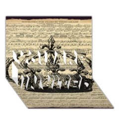 Vintage Music Sheet Crown Song You Are Invited 3d Greeting Card (7x5) by AnjaniArt