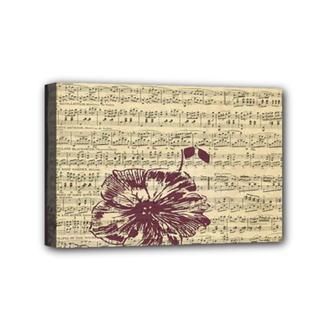 Vintage Music Sheet Song Musical Mini Canvas 6  X 4  by AnjaniArt
