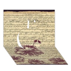 Vintage Music Sheet Song Musical Apple 3d Greeting Card (7x5) by AnjaniArt