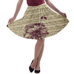 Vintage Music Sheet Song Musical A Line Skater Skirt by AnjaniArt