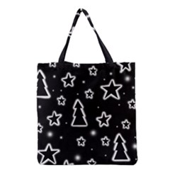 Black And White Xmas Grocery Tote Bag by Valentinaart