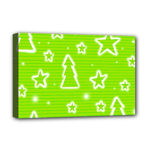Green Christmas Deluxe Canvas 18  X 12   by Valentinaart