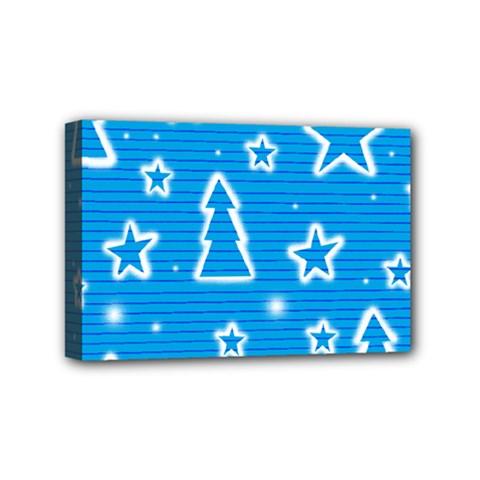 Blue Decorative Xmas Design Mini Canvas 6  X 4  by Valentinaart
