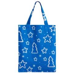 Blue Decorative Xmas Design Zipper Classic Tote Bag by Valentinaart