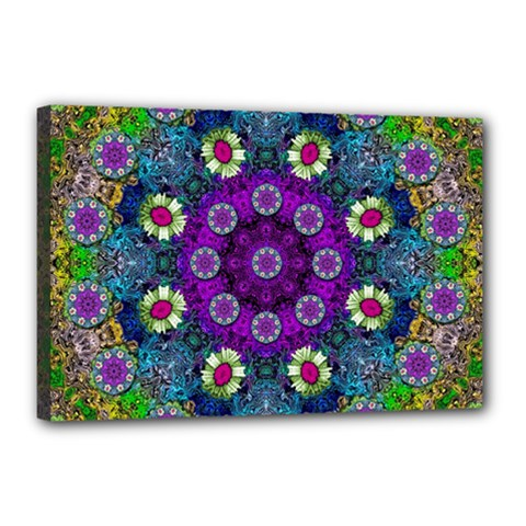 Colors And Flowers In A Mandala Canvas 18  X 12  by pepitasart