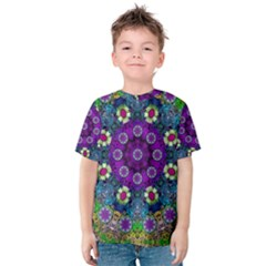 Colors And Flowers In A Mandala Kids  Cotton Tee by pepitasart