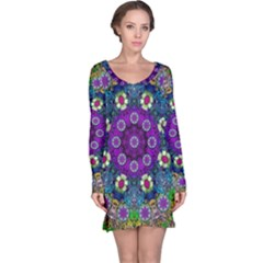 Colors And Flowers In A Mandala Long Sleeve Nightdress by pepitasart