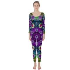 Colors And Flowers In A Mandala Long Sleeve Catsuit by pepitasart