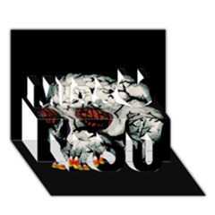 Halloween Skull Miss You 3d Greeting Card (7x5)