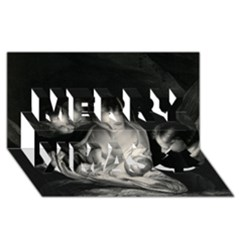 Nativity Scene Birth Of Jesus With Virgin Mary And Angels Black And White Litograph Merry Xmas 3d Greeting Card (8x4) by yoursparklingshop