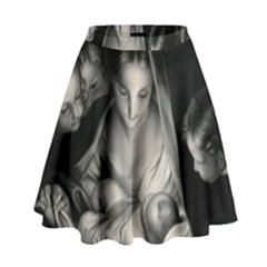 Nativity Scene Birth Of Jesus With Virgin Mary And Angels Black And White Litograph High Waist Skirt by yoursparklingshop