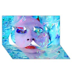 Swimming Into The Blue Twin Hearts 3d Greeting Card (8x4) by icarusismartdesigns