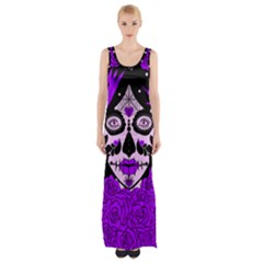 Sugar Skull Purple Roses Maxi Thigh Split Dress by burpdesignsA