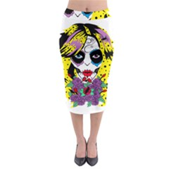 Gothic Sugar Skull Midi Pencil Skirt by burpdesignsA