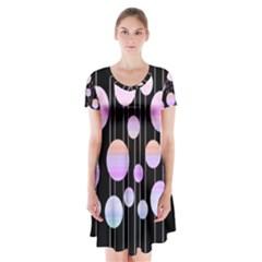 Pink elegance  Short Sleeve V-neck Flare Dress by Valentinaart