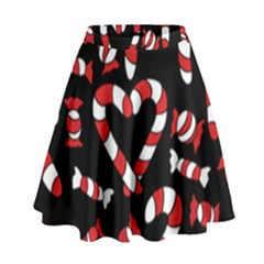 Christmas Candy Canes  High Waist Skirt by BubbSnugg