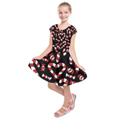 Christmas Candy Canes  Kids  Short Sleeve Dress by BubbSnugg