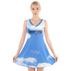 Clouds And Blue Sky V Neck Sleeveless Skater Dress by picsaspassion