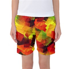 Indian Summer Cubes Women s Basketball Shorts by designworld65