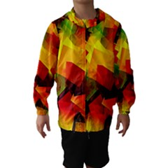 Indian Summer Cubes Hooded Wind Breaker (kids) by designworld65