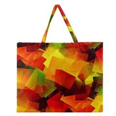 Indian Summer Cubes Zipper Large Tote Bag by designworld65