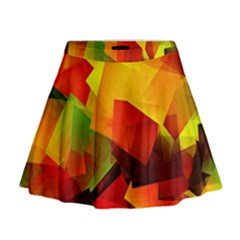 Indian Summer Cubes Mini Flare Skirt by designworld65