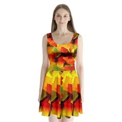 Indian Summer Cubes Split Back Mini Dress  by designworld65