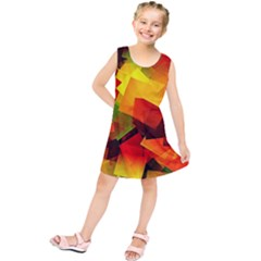 Indian Summer Cubes Kids  Tunic Dress by designworld65