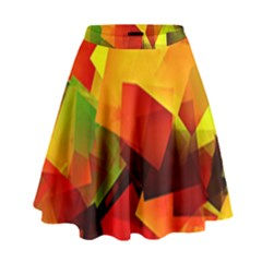Indian Summer Cubes High Waist Skirt by designworld65