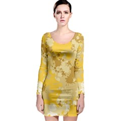 Gold Tone Splatter Long Sleeve Bodycon Dress