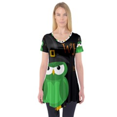 Who Is A Witch?   Green Short Sleeve Tunic  by Valentinaart