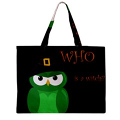 Who Is A Witch?   Green Medium Zipper Tote Bag by Valentinaart