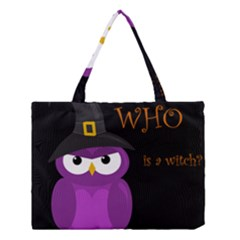 Who Is A Witch?   Purple Medium Tote Bag by Valentinaart