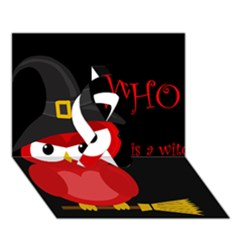 Who Is A Witch?   Red Ribbon 3d Greeting Card (7x5) by Valentinaart