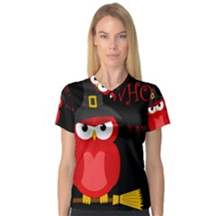Who Is A Witch?   Red Women s V Neck Sport Mesh Tee by Valentinaart